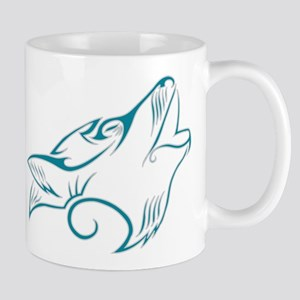 Turquoise Howling Wolf Tribal Tattoo Mug