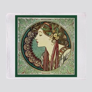 Alphonse Mucha Laurel Throw Blanket
