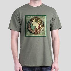 Alphonse Mucha Laurel Dark T-Shirt