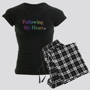 Following My Heart (Rainbow) Women's Dark Pajamas