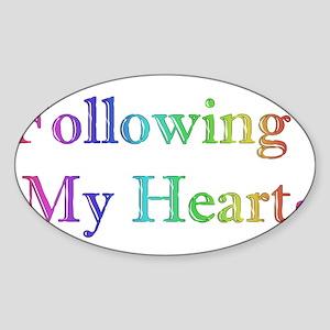 Following My Heart (Rainbow) Sticker (Oval)