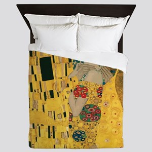 Gustav Klimt The Kiss (Detail) Queen Duvet