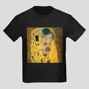 Gustav Klimt The Kiss (Detail) Kids Dark T-Shirt