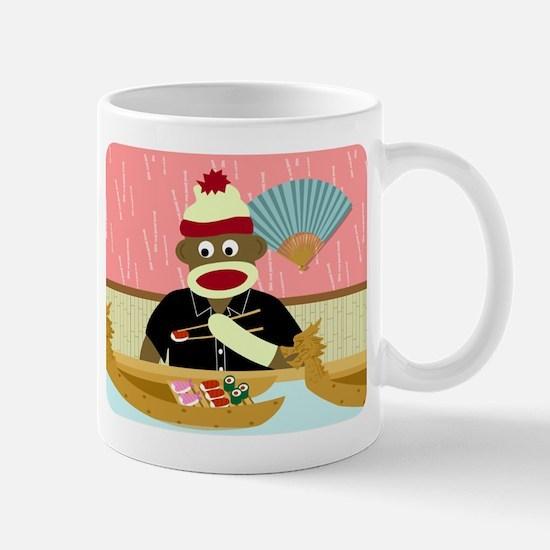 Sock Monkey Sushi Boat Coffee Mug