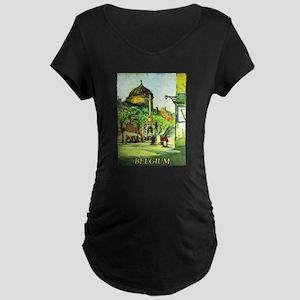 Belgium Travel Poster 1 Maternity Dark T-Shirt