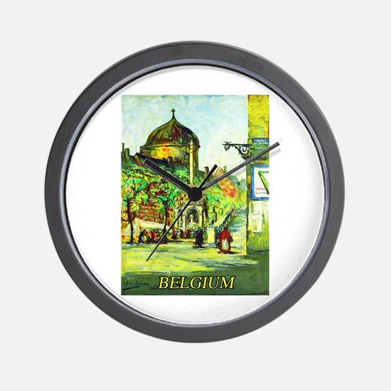 Belgium Travel Poster 1 Wall Clock