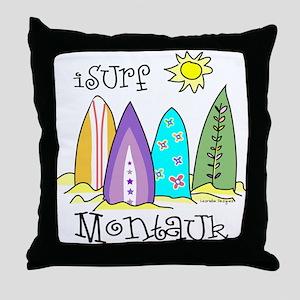 I Surf Montauk Throw Pillow