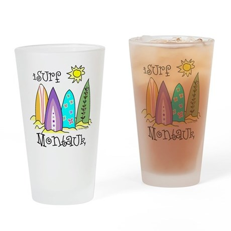 I Surf Montauk Drinking Glass