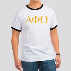 Alpha Phi Omega Letters Yellow Ringer T