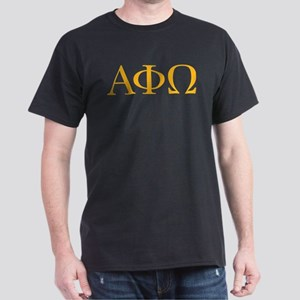 Alpha Phi Omega Letters Yellow Dark T-Shirt