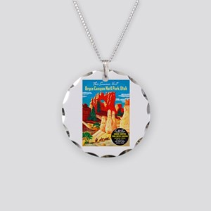 Utah Travel Poster 2 Necklace Circle Charm