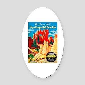 Utah Travel Poster 2 Oval Car Magnet