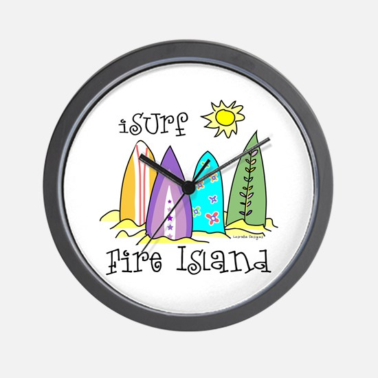 I Surf Fire Island Wall Clock