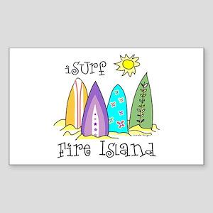 I Surf Fire Island Sticker (Rectangle)