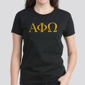 Alpha Phi Omega Letters Yello Women's Dark T-Shirt