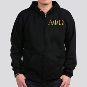 Alpha Phi Omega Letters Yellow Zip Hoodie (dark)