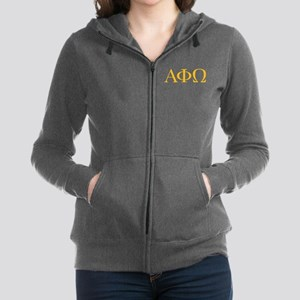 Alpha Phi Omega Letters Yellow Women's Zip Hoodie