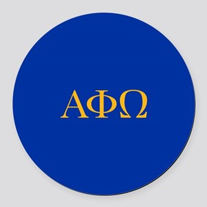 Alpha Phi Omega Letters Yellow Round Car Magnet