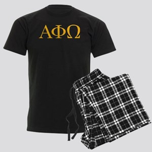 Alpha Phi Omega Letters Yellow Men's Dark Pajamas