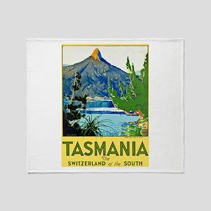 Tasmania Travel Poster 1 Throw Blanket