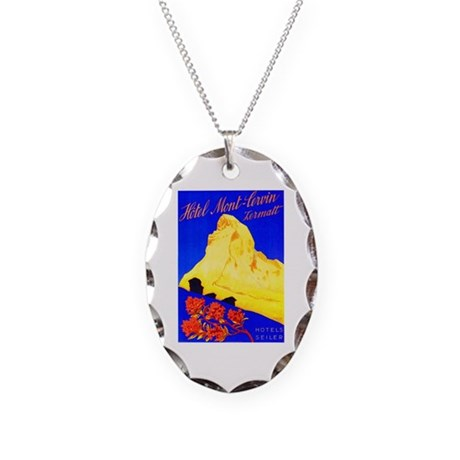 Switzerland Travel Poster 5 Necklace Oval Charm