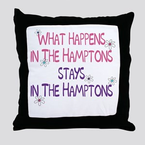 What Happens in the Hamptons Throw Pillow