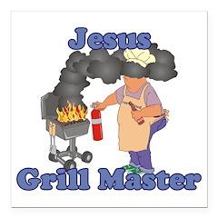 Grill Master Jesus Square Car Magnet 3