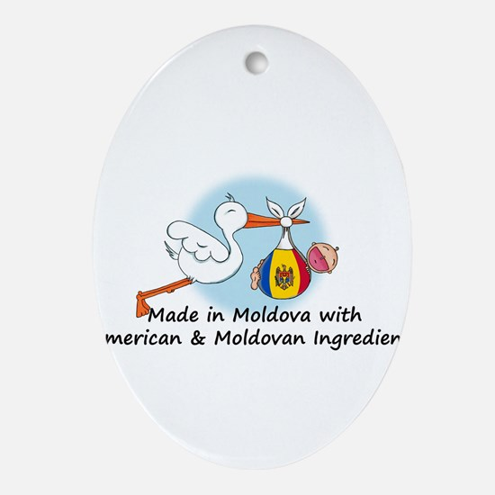 Stork Baby Moldova USA 2 Ornament (Oval)