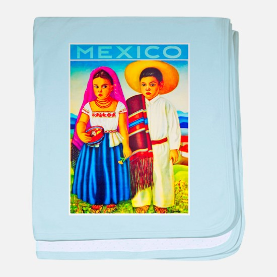 Mexico Travel Poster 12 baby blanket