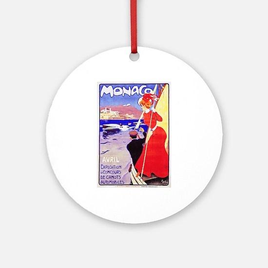 Monaco Travel Poster 1 Ornament (Round)