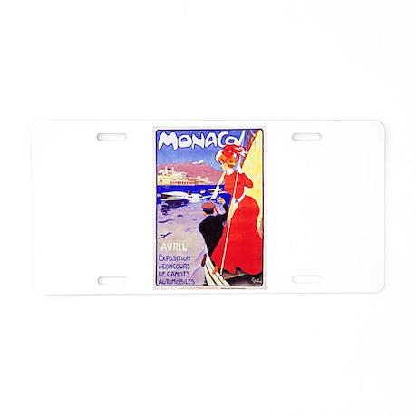 Monaco Travel Poster 1 Aluminum License Plate