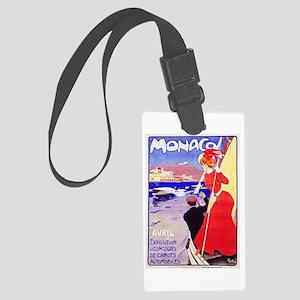 Monaco Travel Poster 1 Large Luggage Tag