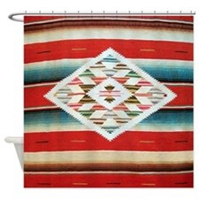 Vintage Red Mexican Serape Shower Curtain