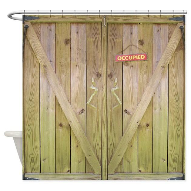 Rustic Barn Door Occupied Shower Curtain by rebeccakorpita
