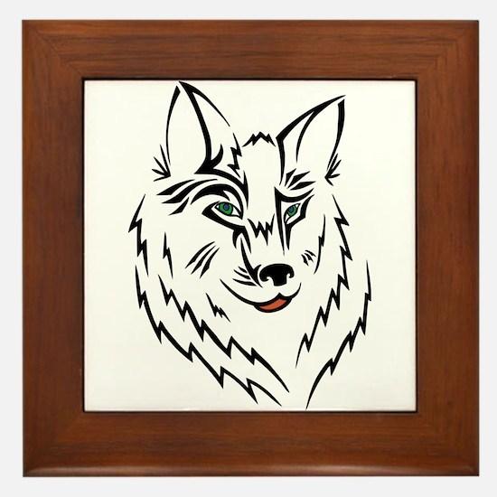 Black Wolf Tribal Tattoo Framed Tile