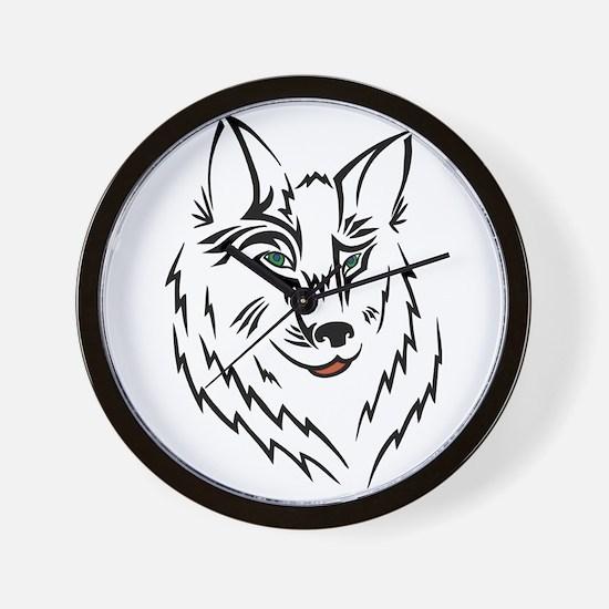 Black Wolf Tribal Tattoo Wall Clock