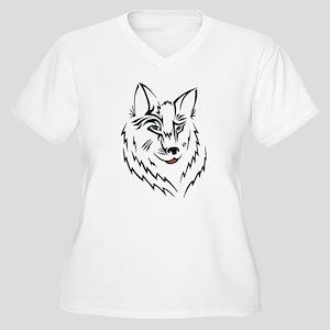 Black Wolf Tribal Tattoo Women's Plus Size V-Neck