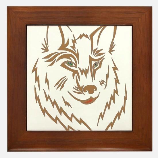 Brown Wolf Tribal Tattoo Framed Tile