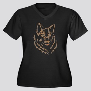 Brown Wolf Tribal Tattoo Women's Plus Size V-Neck