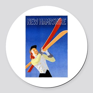 New Hampshire Travel Poster 1 Round Car Magnet