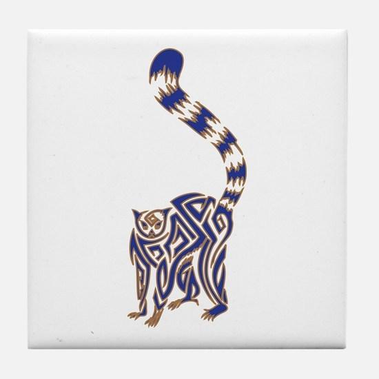 Blue and Tan Lemur Tribal Tattoo Tile Coaster