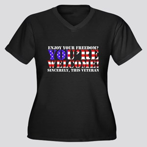 You're Welcome: Veteran Women's Plus Size V-Neck D