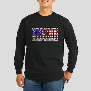 You're Welcome: Veteran Long Sleeve Dark T-Shirt