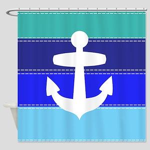Blue Anchor Shower Curtain