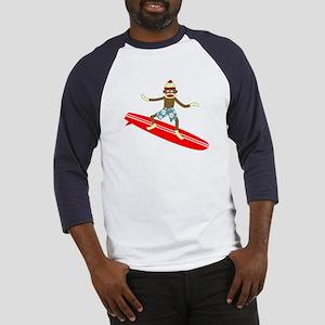 Sock Monkey Longboard Surfer Baseball Jersey