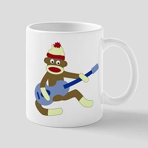 Sock Monkey Playing Blue Guitar Coffee Mug