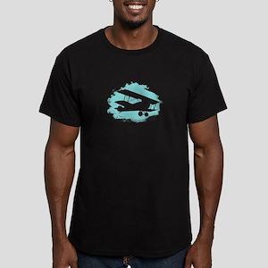 Biplane Cloud Silhouette Men's Fitted T-Shirt (dar
