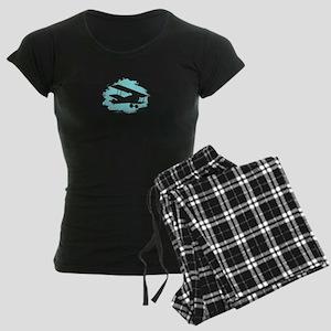 Biplane Cloud Silhouette Women's Dark Pajamas