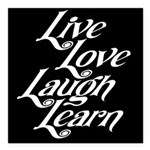 "Learn, Laugh, Love, Live Square Car Magnet 3"" x 3"""