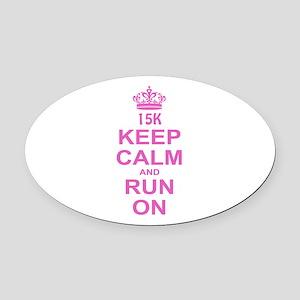run pink 13.1 Oval Car Magnet